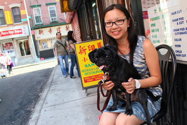 Gigi Li with her pug Vito in Chinatown.