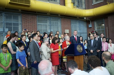 Mayor Bill de Blasio, Schools Chancellor Carmen Fariña and several elected officials announced the city's decision to make Lunar New Year a school holiday.