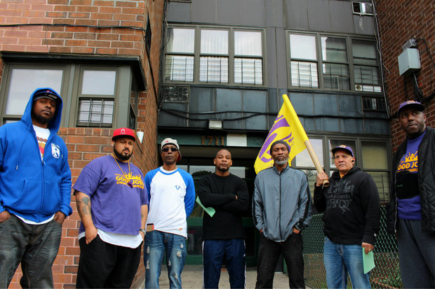 Former employees of 1711 Fulton St. in Bed-Stuy protested in front of the building in June, saying management laid off all union-affiliated maintenance workers.