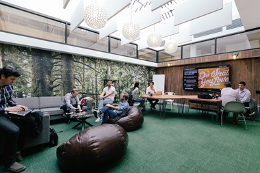 A WeWork space on West Broadway. The company hopes to inspire community among members.