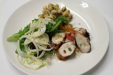 Meme's menu includes grilled octopus with chickpeas and mesclun fennel salad in tomato lemon vinaigrette.