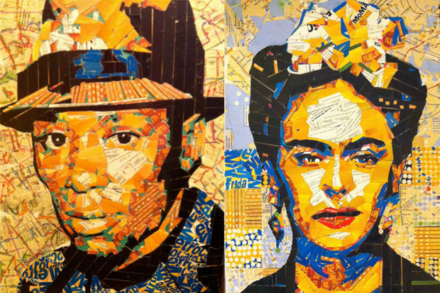 Juan Carlos Pinto creates mosaic portraits, landmarks and landscapes using recycled Metrocards.