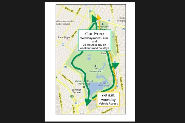 Cars will be banned north of 72nd Street in Central Park and on West Drive in Prospect Park.