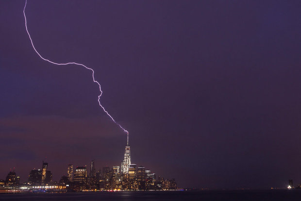 Lightning struck One World Trade Center not once but twice on the evening of May 31st.