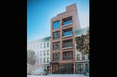 This six-story, mixed-use residential building is set to replace a vacant lot and former community garden on Franklin Avenue between Sterling and Park places in Crown Heights.