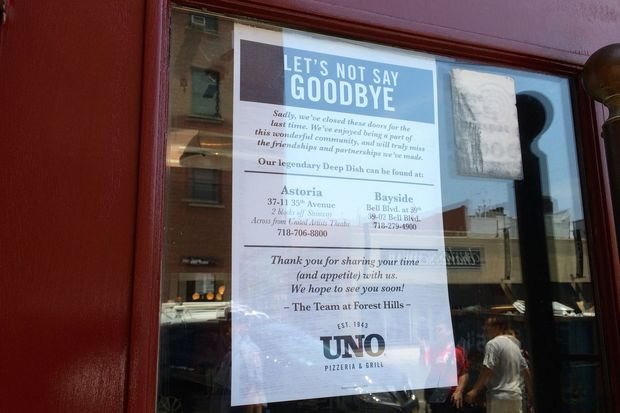 ee1b3cd393 The eatery closed at 107-16 70th Road closed last week. Uno Pizzeria Closes  Its Forest Hills ...