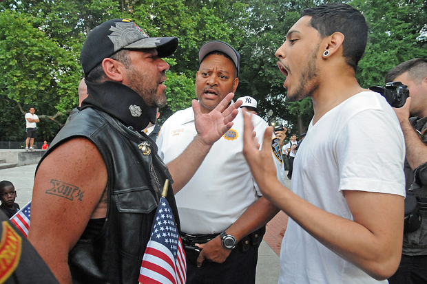 A group of bikers, military veterans and other New York City residents showed up to Fort Greene park to protest the burning of American flags Wednesday night, July 1, 2015.