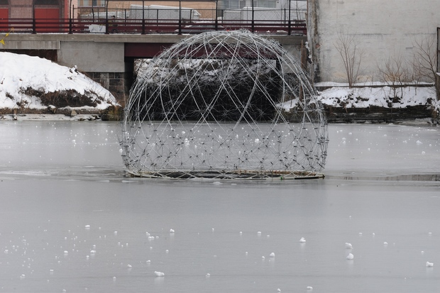 Harvest Dome became entangled with a sunken vessel lurking in the canal, its creators said.