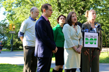 Ken Coughlin (far left in white) was part of the car-free Central Park announcement as a tribute to his advocacy.