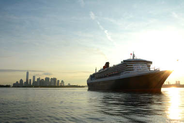 The Queen Mary 2, shown here arriving in New York City, is scheduled to connect to the shore power system at the Brooklyn Cruise Terminal on Nov. 12, the city said.
