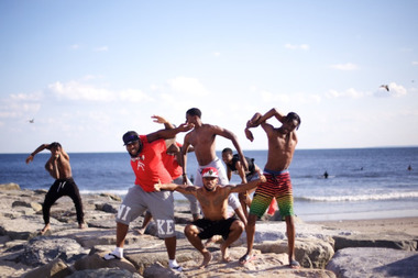 Dancers from the flex community, featured in the 2015 Beach Sessions Dance Series, practice on the jetty near the Beach 81st Street performance space.