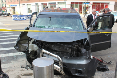 A recent crash in Brooklyn in which a bicyclist was hit by an SUV driver.