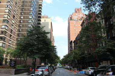 A view of East 58th Street, the site of a planned new condo tower in Sutton Place. On the left is the Sovereign condos.