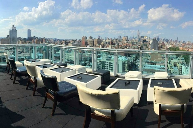Rooftop93 Bar and Lounge, located on the 18th floor of the Wyndham Garden in Chinatown, offers sky-high views of the skyline and the Bowery.