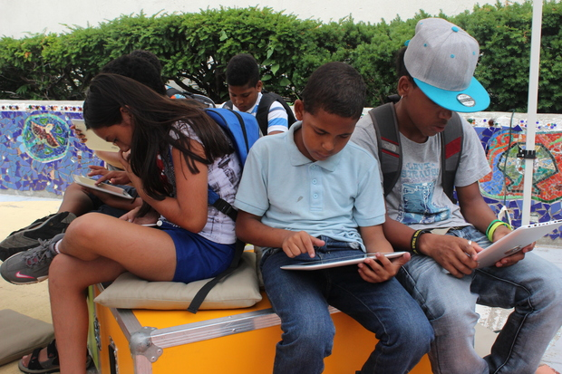A pop-up library and media center launched on Wednesday in The Bronx at Hayden Lord Park.