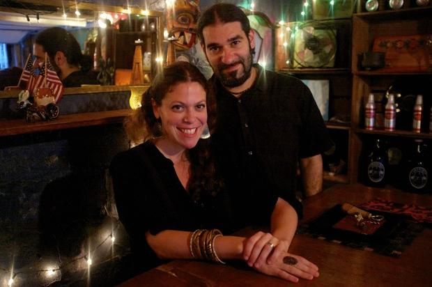 Kate and Joe Bly at the Rio Negro, their garage bar.