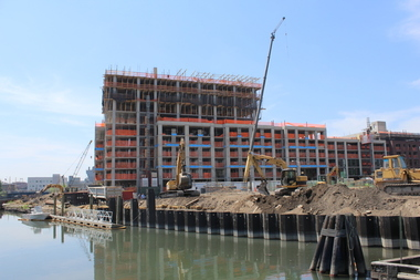 The Lightstone Group's construction site on the Gowanus Canal in May 2015. More than 56,000 people applied for a chance to live in 86 affordable units in the 12-story building.