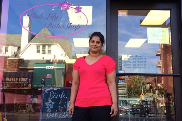 Amanda Mohammed in front of her new shop Pink Lily in Kew Gardens