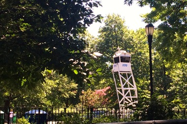 Police removed a SkyWatch tower from Tompkins Square Park, which had been installed to monitor quality-of-life issues.