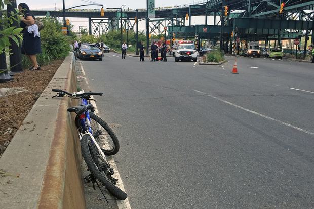 A bike rider was seriously injured after a black Mercedes slammed into him near Queens Plaza Tuesday afternoon, July 28, 2015.