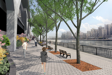 Rockefeller University's section of the East River waterfront will eventually see new landscaping, a sound barrier and a renovated seawall.