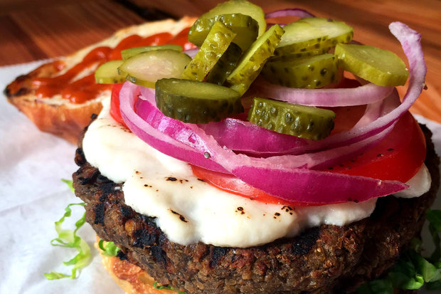 Toad Style's mushroom lentil burger with home made cashew tapioca cheese.