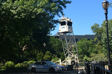 Police installed a patrol tower in Tompkins Square Park earlier this week, EV Grieve reported.