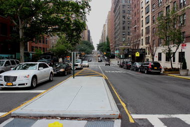 Local leaders want a pedestrian island — like the one pictured here at West End Avenue and 97th Street — to be installed a block south, where crashes with injuries have jumped 400 percent in recent years.    Crashes with injuries have gone down on West End Avenue because of a redesign that added pedestrian islands like the one pictured here.