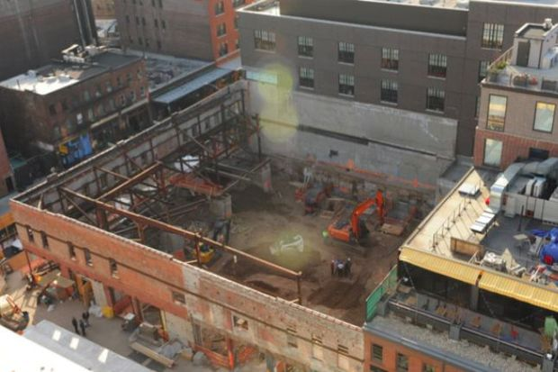The construction site at 9-19 Ninth Avenue on April 6, 2015, the day 22-year-old construction worker Carlos Moncayo was crushed to death.