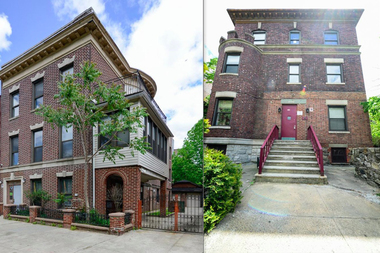 The buildings at 849 Crotona Park North and 1790 Marmion Ave. (L-R) are both coming up for auction in early September.