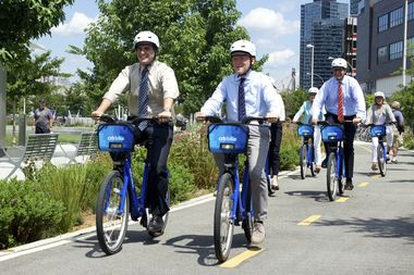 State Sen. Michael Gianaris, City Councilman Jimmy Van Bramer and other officials take a ride on Citi Bikes after the opening of the first station in Long Island City on Aug. 5, 2015.