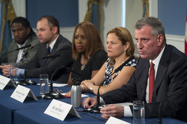 Mayor Bill de Blasio gives an update in City Hall about the Legionnaires' disease outbreak in The Bronx, Aug. 10, 2015.