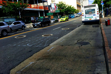 The city has begun painting chalk outlines for a bus-only lane on the north and south sides of 125th Street between Lenox and Morningside avenues. The lane is expected to be completed by the end of the month.