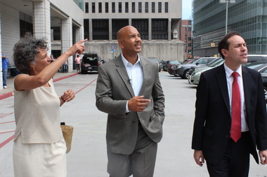Dr. Mary Bassett, Ruben Diaz Jr. and Dr. Howard Zucker (L-R) toured Concourse Plaza on Thursday.