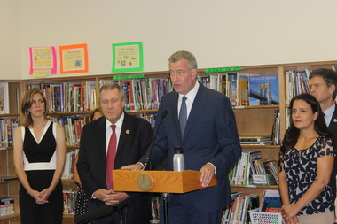 Mayor Bill de Blasio said school test scores had increased during a press conference at P.S. 19 Asher Levy on Aug. 12, 2015.