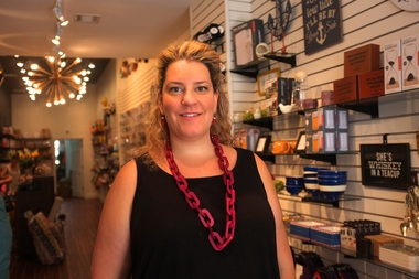 Owner Mackenzi Farquer inside Lockwood's Jackson Heights shop.