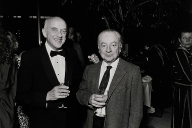 New York Philharmonic violinist Eugene Bergen (right) died without a will and no apparent heirs. If no relatives are found, his $3.8 million estate will be held in an unclaimed fund first by the city and then by the state comptroller's office. Here he poses with the philharmonic's orchestra personnel manager, James Chambers.