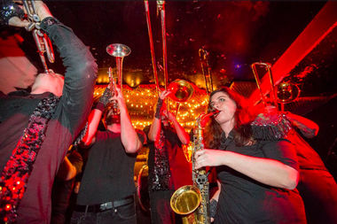 The 12-piece ensemble Funkrust Brass Band will play at Penn Plaza Monday night.
