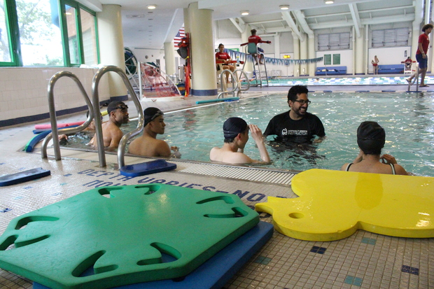 Asphalt Green's adult immersion swimming class helps those who are afraid of the water or never had the opportunity to learn the very basics of swimming.