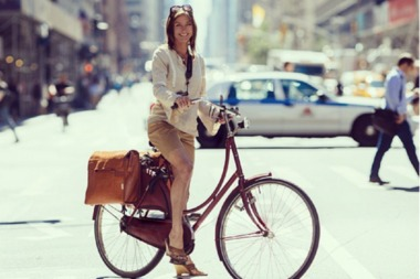 Liz Patek rides all over the city in clothes she would wear to dinner or a meeting, she said.