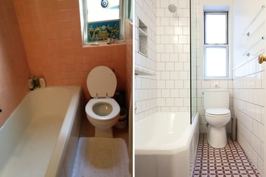the before and after photos of one of pepper binkleys bathrooms which she renovated using