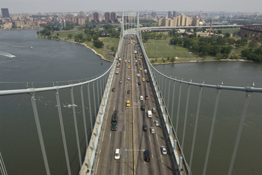 There were 12 people injured after a tour bus crashed into a tollbooth on the RFK Bridge Friday afternoon, Aug. 14, 2015.