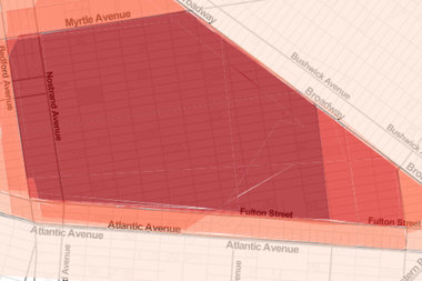 This composite map shows where most people drew Bed-Stuy's borders on DNAinfo New York's interactive, which asked readers to outline their neighborhoods.