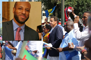 Gov. Andrew Cuomo marches in the 2015 West Indian Day Parade on Eastern Parkway. Carey Gabay, a lawyer for Cuomo's administration, inset, is in critical condition after being shot in the head early Monday morning, officials said.