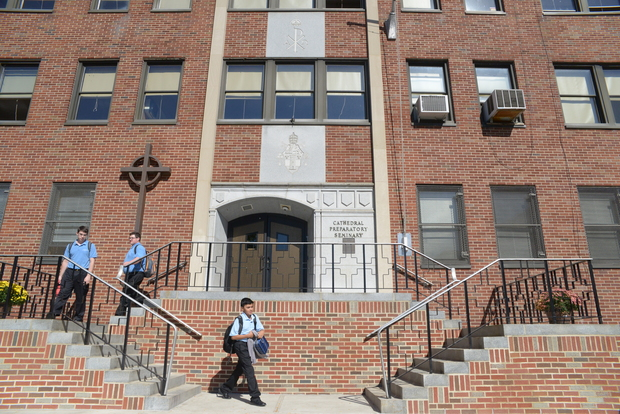 Class lets out at the country's last day seminary for high school boys in Elmhurst, Queens on Sept. 23 2015, a day before Pope Francis visits New York City.