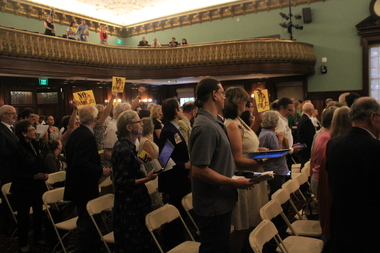 The City Council chambers were packed with people opposing a bill that would set deadlines for the city's Landmarks Preservation Commission for the first time in its history.