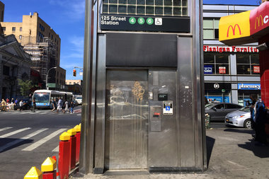 This elevator at the subway stop on 125th Street and Lexington Avenue will be closed for nine months starting January, according to the MTA.