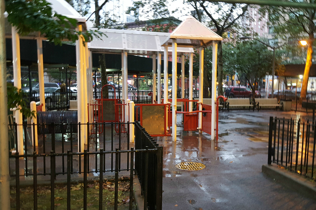 The city plans to build a high-rise with 350 to 400 units on top of an existing playground.