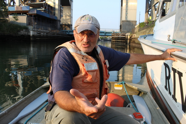 Riverkeeper's John Lipscomb patrols the Gowanus Canal looking for polluters and signs of wildlife.