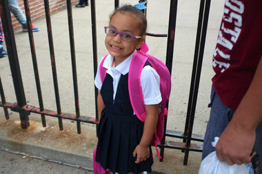 Ismeily Nunez, 5, gets ready for her first day of kindergarten in September outside P.S. 143 in Corona, which is among one of the city's most overcrowded schools.